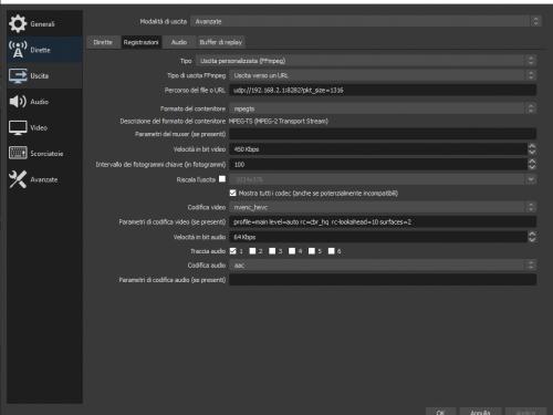 DATV : Configurare OBS per Pluto firmware di F5OEO Protocollo UDP (H.265)